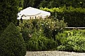 White sun umbrella in a lush garden