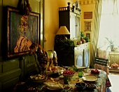Set table in the dining room of a country home
