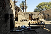 Lime houses and benches on sand in the courtyard and tall palms, Egypt