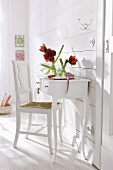 A white wall table and a chair against a wood panelled wall and red amaryllis in a glass vase