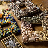Craft work - picture frames made of various stones and glass beads