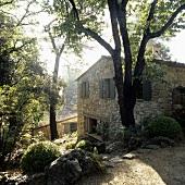 Morning over a rustic Mediterranean house with a garden