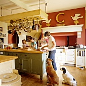 Cooking in the kitchen of a country house at an island counter