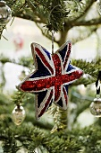 A Union Jack Christmas star on a Christmas tree