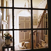 A view through an old transom window onto a front door with a ceiling light and a dog