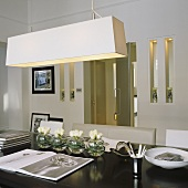 A pendent lamp with a white shade hanging above a dining table and narrow, illuminated wall niches