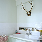 Antlers in a white bathroom with bathtub and bathing products in a niche