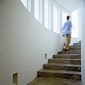 A flight of concrete steps - a man disappearing upstairs
