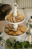 Various type of biscuits on a porcelain stand