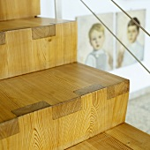 Blick on steps of staircase custom made by a carpenter