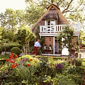 A 19th century German thatched-roof house