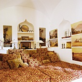 An elegant futon in a house with oriental architecture