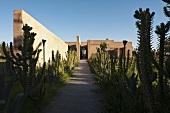 An entrance to a Moroccan villa with a garden