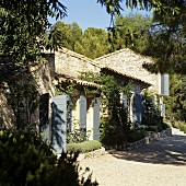 A Mediterranean country house with grey shutters and a vine-covered natural stone facade