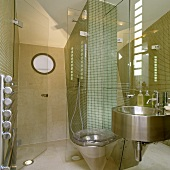 A designer bathroom - stainless steel basin and toilet in front of a mirror with mosaic tile in the shower cubicle
