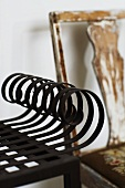 Detail of a piece of furniture - metal bent into curves