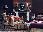 Creating a romantic mood with candlelight and crackling fire in the fireplace