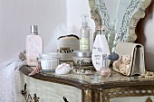 Cosmetics on a side table
