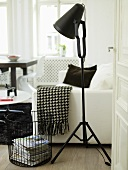 View through an open door of a black photo lamp and metal basket in front of a white sofa with a black and white throw blanket