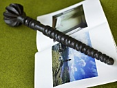 Turned walking stick and photo album on a green background