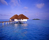 Bungalows on the sea in the Maldives