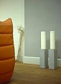 Pair of modern floorstanding candlesticks
