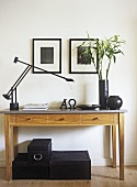 Side table with lamp and storage boxes
