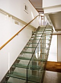 Staircase with transparent steps