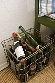 Bottles of wine in metal basket