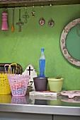 Items on stainless steel kitchen worktop