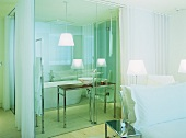 Hotel bedroom suite with ensuite bathroom