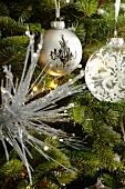 Christmas ball ornaments on a Christmas tree