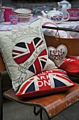 Union flag cushions on a vintage chair