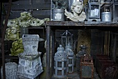 Old garden ornaments (plant pots, lanterns, stone angel)