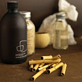 Bamboo stems and bottles of toiletries
