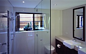 A modern bathroom with a shower area and a glass partition wall in front of a toilet and a wash basin