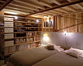A wood panelled bedroom in the basement