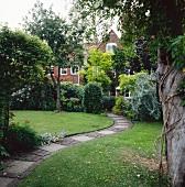 Schmaler, gepflasterter Weg in der Rasenfläche eines parkartigen, englischen Gartens