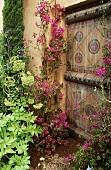 Pinkfarbene Bougainvillea an Hausfassade mit Bemalung