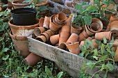 Sammlung alter Tontöpfe in Holzkiste