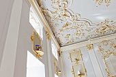 A ceiling decorated with stucco and gold in Rosenthal Casino, Selb
