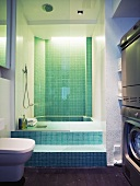 A bathroom with a sunken bathtub and mosaic tiles