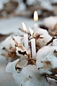 A wintry wreath made of cotton, cones and a candle (close-up)