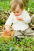 A small child with a basket sitting on the forest floor