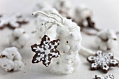 Snowflake biscuits on a sprig
