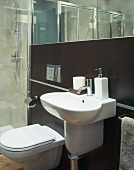 Designer sink with bathroom accessories and toilet in front of reddish brown wall paneling and mirror