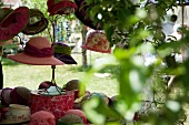 Red hats at a garden party