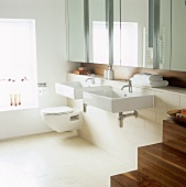 A modern bathroom with two washbasins and a mirrored cabinet
