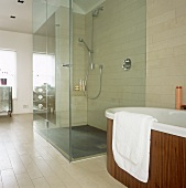 Walk in shower with glass wall next to a free standing bathtub