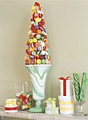 Christmas decoration made from coloured sweets